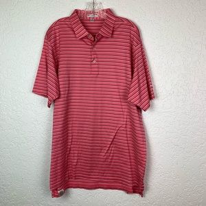 Peter Millar XL pink striped polo shirt Golf EUC
